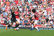 West Ham United midfielder Joao Mario (18) & Arsenal goalkeeper Petr Cech (33) during the Premier League match between Arsenal and West Ham United at the Emirates Stadium, London, England on 22 April 2018. Picture by Bennett Dean.