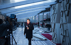 February 19, 2019 - Hollywood, California, U.S - ABC7 LA entertainment reporter George Pennacchio reports during preparations for the 91st annual Academy Awards at the Dolby Theater in Hollywood, Tuesday, February 19, 2019. The Oscars will be presented on Sunday February 24, 2019. JAVIER ROJAS/PI (Credit Image: © Prensa Internacional via ZUMA Wire)