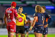 Referee Frank Murphy (IRFU) speaks with Juandre Kruger (#5) of Scarlets and Pierre Schoeman (#1) of Edinburgh Rugby during the Guinness Pro 14 2019_20 match between Edinburgh Rugby and Scarlets at BT Murrayfield Stadium, Edinburgh, Scotland on 26 October 2019.
