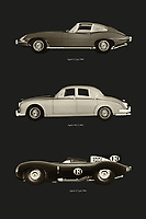 The British car brand Jaguar has a rich history and has produced several iconic cars. The most notable are the Jaguar E-Type, the racing car Jaguar D-Type and of course the bowler hat the Jaguar MK. –<br /> -<br /> BUY THIS PRINT AT<br /> <br /> FINE ART AMERICA / PIXELS<br /> ENGLISH<br /> https://janke.pixels.com/featured/iconic-jaguar-cars-jan-keteleer.html<br /> <br /> <br /> WADM / OH MY PRINTS<br /> DUTCH / FRENCH / GERMAN<br /> https://www.werkaandemuur.nl/nl/shopwerk/Iconische-Jaguar-Auto-s/797715/132?mediumId=1&size=50x75<br /> –<br /> -