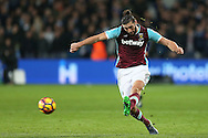 Andy Carroll of West Ham United in action. Premier league match, West Ham Utd v Manchester city at the London Stadium, Queen Elizabeth Olympic Park in London on Wednesday 1st February 2017.<br /> pic by John Patrick Fletcher, Andrew Orchard sports photography.