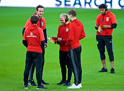 CARDIFF, WALES - Monday, October 9, 2017: Wales' goalkeeper Danny Ward, Ben Davies, Jonathan Williams and captain Ashley Williams on the pitch before the 2018 FIFA World Cup Qualifying Group D match between Wales and Republic of Ireland at the Cardiff City Stadium. (Pic by Paul Greenwood/Propaganda)