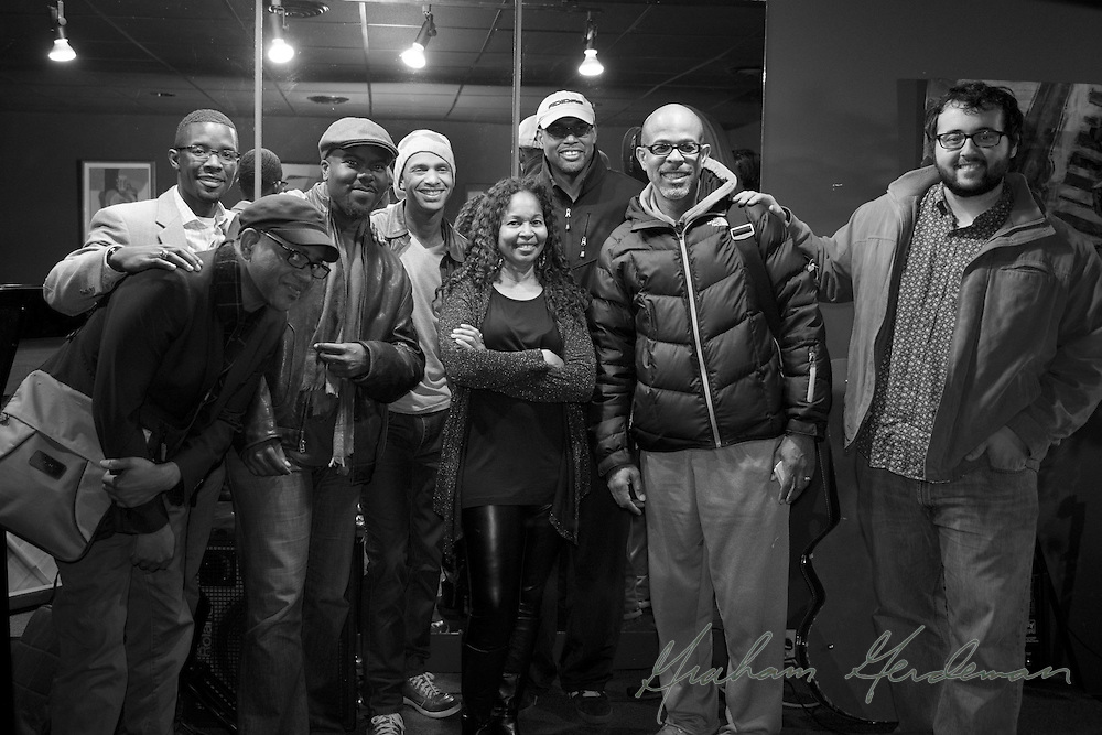 The Marcus Finnie Band poses with guests - (L to R), DeMarco Johnson, Cord Martin, Hamilton Hardin, Marcus Finnie, club owner Kandes Dungey, Gerald Veasley, Kevin Turner, and James DaSilva.