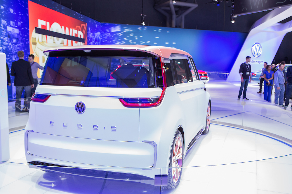 """New York, NY, USA-23 March 2016. Volkswagen showed it's concept car, dubbed the Budd-e, a connected vehicle with a number of """"smart"""" personalizable options, many of which are entertainment-centered."""