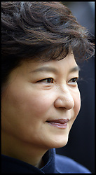 Profile of President of the Republic of Korea Her Excellency Park Geun-hye during a visit to meet Prince William for a Korean War Memorial Ceremony, at Victoria Embankment Gardens, London, United Kingdom, Tuesday, 5th November 2013. Picture by Andrew Parsons / i-Images