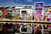 River front with painted buildings with reflections on the river
