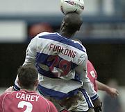 London, England, UK, 8th March 2002, EFL Div 2, Queens Park Rangers vs Bristol City, Loftus Road Stadium, Shepherd's Bush, Greater London,<br /> [Mandatory Credit: Peter Spurrier/Intersport Images],<br /> <br /> Sport - Football Nationwide Division 2 - QPR v Bristol City<br /> Paul Furlong absorbes the force of the ball.