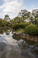 Osaka Castle Garden - the inner bailey garden was developed along with the redevelopment of Osaka Castle itself in 1931.  Often confused with Nishinomaru Garden, which is in another area of Osaka-jo grounds, the inner bailey garden was once a part of the Kishu Goten Mansion estate.  It is a strolling pond garden with various viewpoints of the garden along the shores of the pond, as well as of the castle.