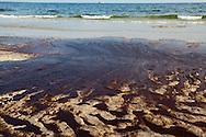 Oil on the shore of Bon Secour National Wildlife Refuge , in Alabama on June 12, 2010 from the BP oil spill.