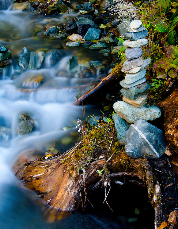 Rock cairn next to a creek off the Glenn Highway near Chickaloon, Alaska