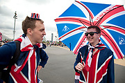 London 2012 Olympic Park in Stratford, East London. British fans with union jack flags are everywhere on the site with great enthusiasm for Team GB.