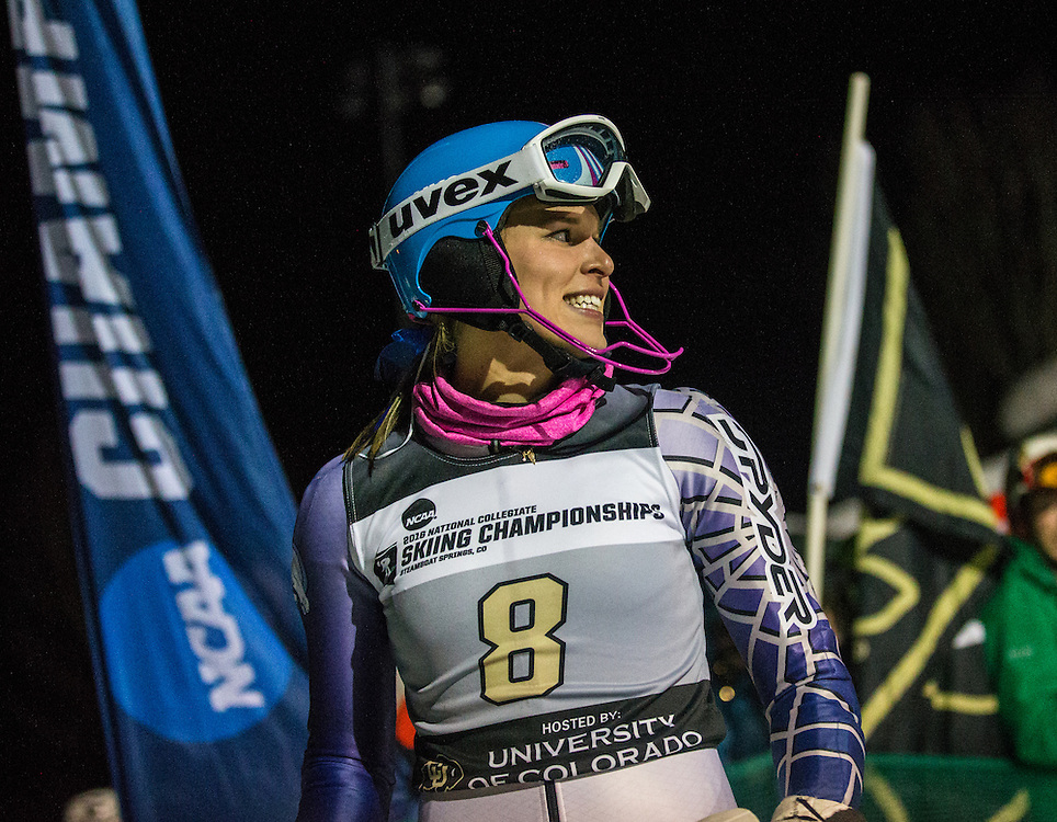 Mardene Haskell of Colby College, during the NCAA Skiing Championships Night Slalom on Friday March 11, 2016 at Howelsen Hill in Steamboat Springs, CO. (Dustin Satloff)