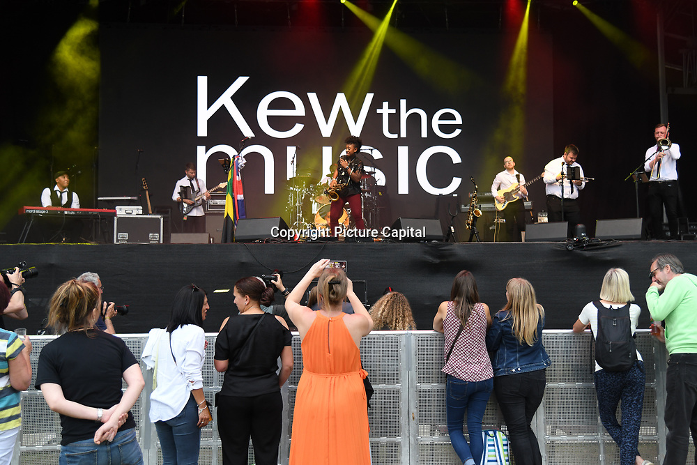 Kew The Music 2019 kicks off by Saxophonist YolanDa Brown provides support on 9 July 2019, Kew Garden, London, UK.