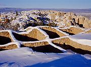 Snow draping walls of Atsinna Ruin, top of Inscription Rock, El Morro National Monument, New Mexico.