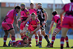 Rob Lewis of London Welsh passes the ball - Photo mandatory by-line: Patrick Khachfe/JMP - Mobile: 07966 386802 07/03/2015 - SPORT - RUGBY UNION - Exeter - Sandy Park - Exeter Chiefs v London Welsh - Aviva Premiership