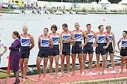 Eton Dorney, Windsor, Great Britain,..2012 London Olympic Regatta, Dorney Lake. Eton Rowing Centre, Berkshire[ Rowing]...Description;  Men's Eights Medals left to right, .GBR.M8+ Alex PARTRIDGE (b) , James FOAD (2) , Tom RANSLEY (3) , Richard EGINGTON (4) , Mohamed SBIHI (5) , Greg SEARLE (6) , Matt LANGRIDGE (7) , Constantine LOULOUDIS (s) , Phelan HILL (c)  Dorney Lake..13:00:30  Wednesday  01/08/2012..[Mandatory Credit: Peter Spurrier/Intersport Images].