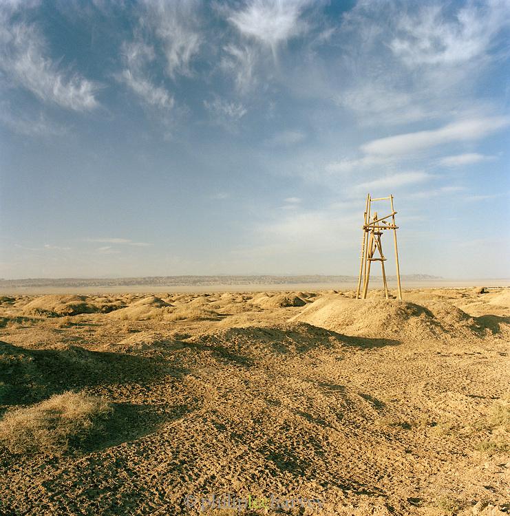 Lookout post on the road to Jiayuguan, Silk Route, Dunhuang, Jiuquan, Gansu Province, China.