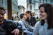 Tallinn, Estonia, May 10, 2012, A couple kissing eachother on the streets of Tallinn. PHOTO © Christophe Vander Eecken