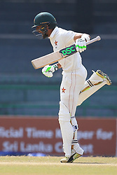 July 17, 2017 - Colombo, Sri Lanka - Zimbabwe cricketer Sikandar Raza in celebration mood after scoring 100 runs during the 4th day's play in the only Test match between Sri Lanka and Zimbabwe at ..R Premadasa International Cricket Stadium in the capital city of Colombo, Sri Lanka on Monday  17th July 2017  (Credit Image: © Tharaka Basnayaka/NurPhoto via ZUMA Press)
