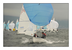 470 Class European Championships Largs - Day 1.Racing in grey and variable conditions on the Clyde..SUI7, Olivier GREMAUD, Adrien GREMAUD, Club Nautique Morgien