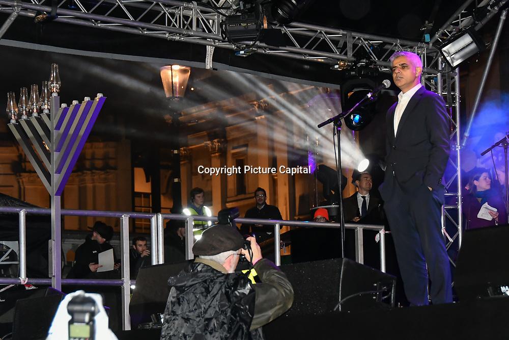 Speaker Mayor of London Sadiq Khan at the ceremony to light a sacred Menorah to celebrate Chanukah (Hanukkah), the eight-day Jewish Festival in Trafalgar Square, 5th December 2018, London, UK.