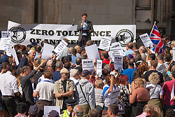 """Royal Courts of Justice, London,  August 31st 2014. Quilliam Foundation leader Maajid Nawaz speaks out against religious intolerance as thousands of Jews and their supporters from London and across the UK demand """"Zero Tolerance for Antisemites"""", organised by the Campaign Against Antisemitism."""