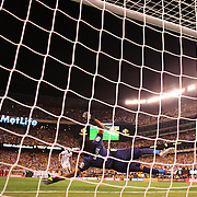 EAST RUTHERFORD, NEW JERSEY - JUNE 17:  James Rodriguez #10 of Colombia beats Pedro Gallese #1 of Peru from the penalty spot during the penalty shoot out  during the Colombia Vs Peru Quarterfinal match of the Copa America Centenario USA 2016 Tournament at MetLife Stadium on June 17, 2016 in East Rutherford, New Jersey. (Photo by Tim Clayton/Corbis via Getty Images)