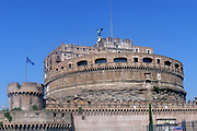 The Castel Sant'Angelo is a tall cylindrical building in Parco Adriano, Rome, Italy. It which was initially commissioned as a mausoleum by Roman Emperor Hadrian. The Castel was once the tallest building in Rome, and is now is used as a museum. Circa 2nd century AD.