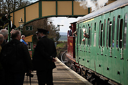 © Licensed to London News Pictures. 07/03/2014. Hampshire, UK. The steam locomotive 'MET 1 - Metropolitan 1' pulling out of Ropley Station today, 7th March 2014, which is the first day of the 'spring steam gala' on the Watercress Line. The railway line, operated by Mid Hants Railway Ltd, passes between Alresford and Alton in Hampshire. The line is named after its use in the past for transporting freshly cut watercress from the beds surrounding Alresford to London. Photo credit : Rob Arnold/LNP