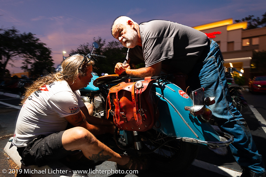 Doug Wothke helping out Don Gilmore during the Cross Country Chase motorcycle endurance run from Sault Sainte Marie, MI to Key West, FL. (for vintage bikes from 1930-1948). Stage-7 covered 249 miles from Macon, GA to Tallahassee, FL USA. Thursday, September 12, 2019. Photography ©2019 Michael Lichter.
