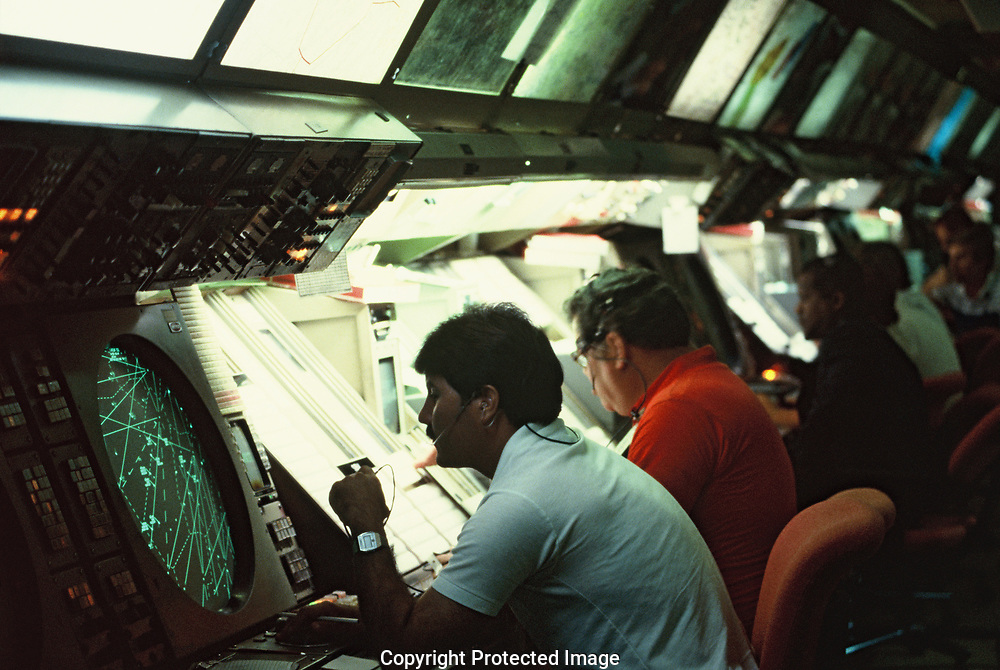 Air Traffic controllers at work at the FAA Leesburg, Virginia facility<br />Photo by Dennis Brack