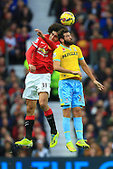 Marouane Fellaini of Manchester United and Joe Ledley of Crystal Palace contest a header - Manchester United vs. Crystal Palace - Barclay's Premier League - Old Trafford - Manchester - 08/11/2014 Pic Philip Oldham/Sportimage