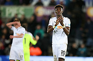 Tammy Abraham of Swansea city applauds the fans after the match. Premier league match, Swansea city v Crystal Palace at the Liberty Stadium in Swansea, South Wales on Saturday 23rd December 2017.<br /> pic by  Andrew Orchard, Andrew Orchard sports photography.
