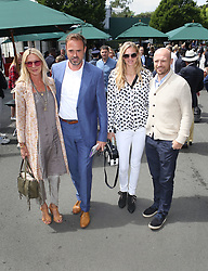 Jamie Theakston and Matt Dawson arrive on day nine of the Wimbledon Championships at the All England Lawn Tennis and Croquet Club, Wimbledon. PRESS ASSOCIATION Photo. Picture date: Wednesday July 12, 2017. See PA story TENNIS Wimbledon. Photo credit should read: Philip Toscano/PA Wire. RESTRICTIONS: Editorial use only. No commercial use without prior written consent of the AELTC. Still image use only - no moving images to emulate broadcast. No superimposing or removal of sponsor/ad logos.