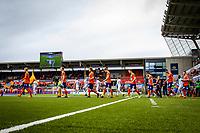 1. divisjon fotball 2018: Aalesund - Mjøndalen. Spillerne entrer banen til førstedivisjonskampen i fotball mellom Aalesund og Mjøndalen på Color Line Stadion.