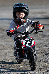 Kids get out to race on the Flat Track at the RSD Moto Beach Classic. Huntington Beach, CA, USA. Saturday October 27, 2018. Photography ©2018 Michael Lichter.
