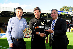Vanarama's Ashley Lyne with Bristol Rovers Manager, Darrell Clarke and chairman Nick Higgs for the Vanarama Conference Manager of the month - Photo mandatory by-line: Neil Brookman - Mobile: 07966 386802 - 04/10/2014 - SPORT - Football - Bristol - Memorial Stadium - Bristol Rovers v Dover - Vanarama Football Conference
