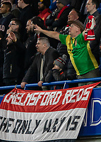 Football - 2018 / 2019 Emirates FA Cup - Fifth Round: Chelsea vs. Manchester United <br /> <br /> A Manchester United supporter cheers his team on as they take a 2-0 half time lead at Stamford Bridge<br /> <br /> COLORSPORT/DANIEL BEARHAM