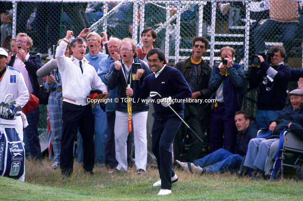 Seve BALLESTEROS (SPN) celebrates after chipping his 3rd shot to within inches of the hole to seal his 5th and final Major title during fourth round Open Championship 1988,Royal Lytham St.Annes,Lytham St.Annes,Lancs,England.