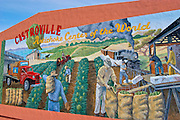 """Mural of the artichoke harvest in the """"artichoke center of the world"""", Castroville, California USA"""