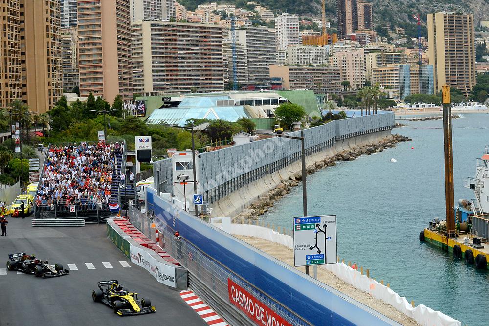 Daniel Ricciardo (Renault) leading Kevin Magnussen (Haas-Ferrari) during the 2019 Monaco Grand Prix. Photo: Grand Prix Photo