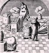 Assaying copper: Furnaces (1,4), ore (3), bellows (5), and aeolipile (6) to supply draught to furnaces. Pot in which flux is prepared (8).  From 1683 English edition of Lazarus Ercker  'Beschreibung allerfurnemisten mineralischen Ertzt- und Berckwercksarten' originally published in Prague in 1574. Copperplate engraving.
