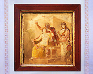 1 cent AD Roman Erotic  fresco from a house in Pompeii. Naples Archaological Museum inv no 27875 .<br /> <br /> If you prefer to buy from our ALAMY PHOTO LIBRARY  Collection visit : https://www.alamy.com/portfolio/paul-williams-funkystock - Scroll down and type - Roman Art Erotic  - into LOWER search box. {TIP - Refine search by adding a background colour as well}.<br /> <br /> Visit our ROMAN ART & HISTORIC SITES PHOTO COLLECTIONS for more photos to download or buy as wall art prints https://funkystock.photoshelter.com/gallery-collection/The-Romans-Art-Artefacts-Antiquities-Historic-Sites-Pictures-Images/C0000r2uLJJo9_s0