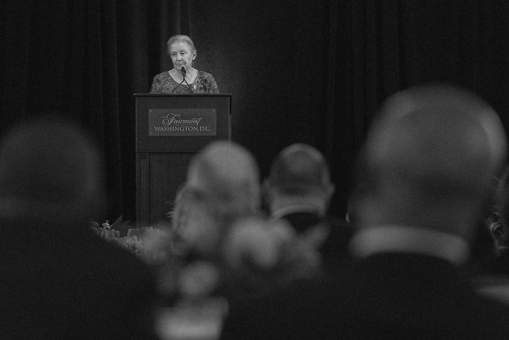 Sister Mary Owens, I.V.B.M., Executive Director of Nyumbani, speaks at the Gala.