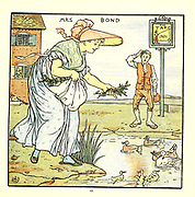 Mrs. Bond From the Book '  The baby's opera : a book of old rhymes, with new dresses by Walter Crane, and Edmund Evans Publishes in London and New York by F. Warne and co. in 1900