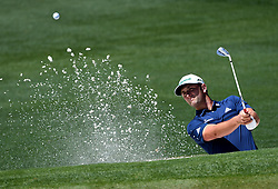 Jon Rahm hits from a sand bunker onto the 2nd green during the third round of the Masters Tournament at Augusta National Golf Club in Augusta, Ga., on Saturday, April 8, 2017. (Photo by Jeff Siner/Charlotte Observer/TNS) *** Please Use Credit from Credit Field ***