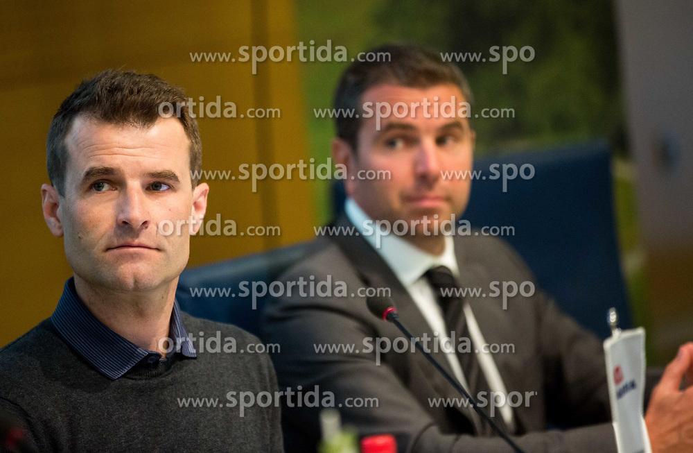 Andrej Hauptman Hempi and Tomaz Jontes during press conference of cycling race 24th Tour de Slovenie 2017, on May 4, 2017 in Telekom Slovenije, Ljubljana, Slovenia. Photo by Vid Ponikvar / Sportida