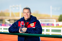 Tanya Oxtoby pictured with the LMA Women's Super League Manager of the Month award for January 2019 - Ryan Hiscott/JMP - 07/02/2019 - SPORT - Stoke Gifford Stadium - Bristol, England - Tanya Oxtoby receives the LMA Women's Super League Manager of the Month award for January 2019