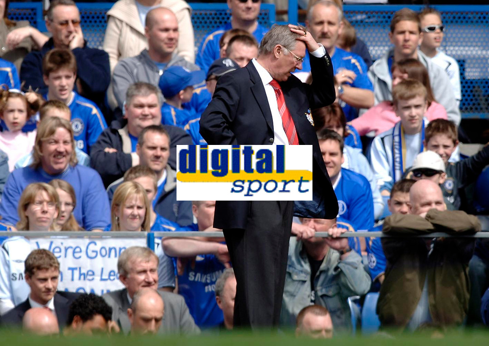 Photo: Daniel Hambury.<br />Chelsea v Manchester United. The Barclays Premiership. 29/04/2006.<br />United's manager Sir Alex Ferguson feels the pressure as his side are crushed 3-0.