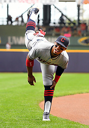 May 8, 2018 - Milwaukee, WI, U.S. - MILWAUKEE, WI - MAY 08: Cleveland Indians Shortstop Francisco Lindor (12) stretches before a MLB game between the Milwaukee Brewers and Cleveland Indians on May 8, 2018 at Miller Park in Milwaukee, WI. The Brewers defeated the Indians 3-2.(Photo by Nick Wosika/Icon Sportswire) (Credit Image: © Nick Wosika/Icon SMI via ZUMA Press)